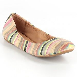 Lucky Brand Striped Emmie Flats 7 Like new